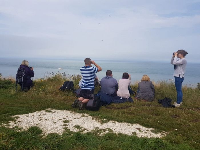 The Bempton RSPB team watching the Humpback on the 30 July 2018