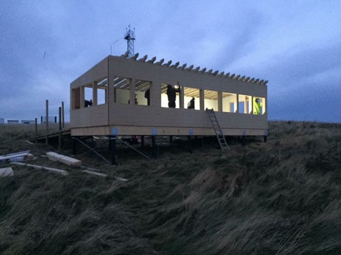 Flamborough Seawatch Hide under construction by GFB and volunteers © John Beaumont