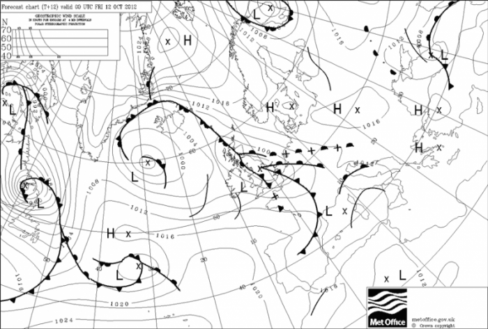 Weather system on 18 October 2012 high pressure over Russia and low over the N.Sea ideal for moving Siberian birds west towards the UK
