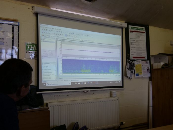 Raven Lite on the screen analysing birdsong spectograms on our YCN & NT Sound Workshop 2 June 2019