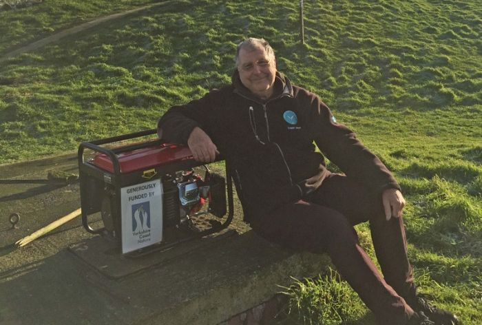 Paul Morrison RSPB Coquet Warden with the new generator January 2021