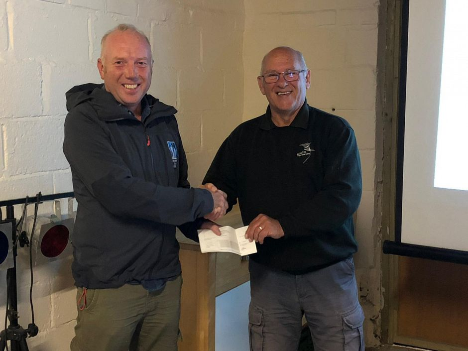 Richard making a donation of £500 to Spurn Bird Observatory Trust from YCN tour profits in 2019
